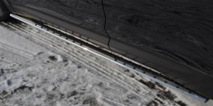 Hyundai Santa Fe 2012- Пороги труба 75х42 овал с проступью  HSFO-001223